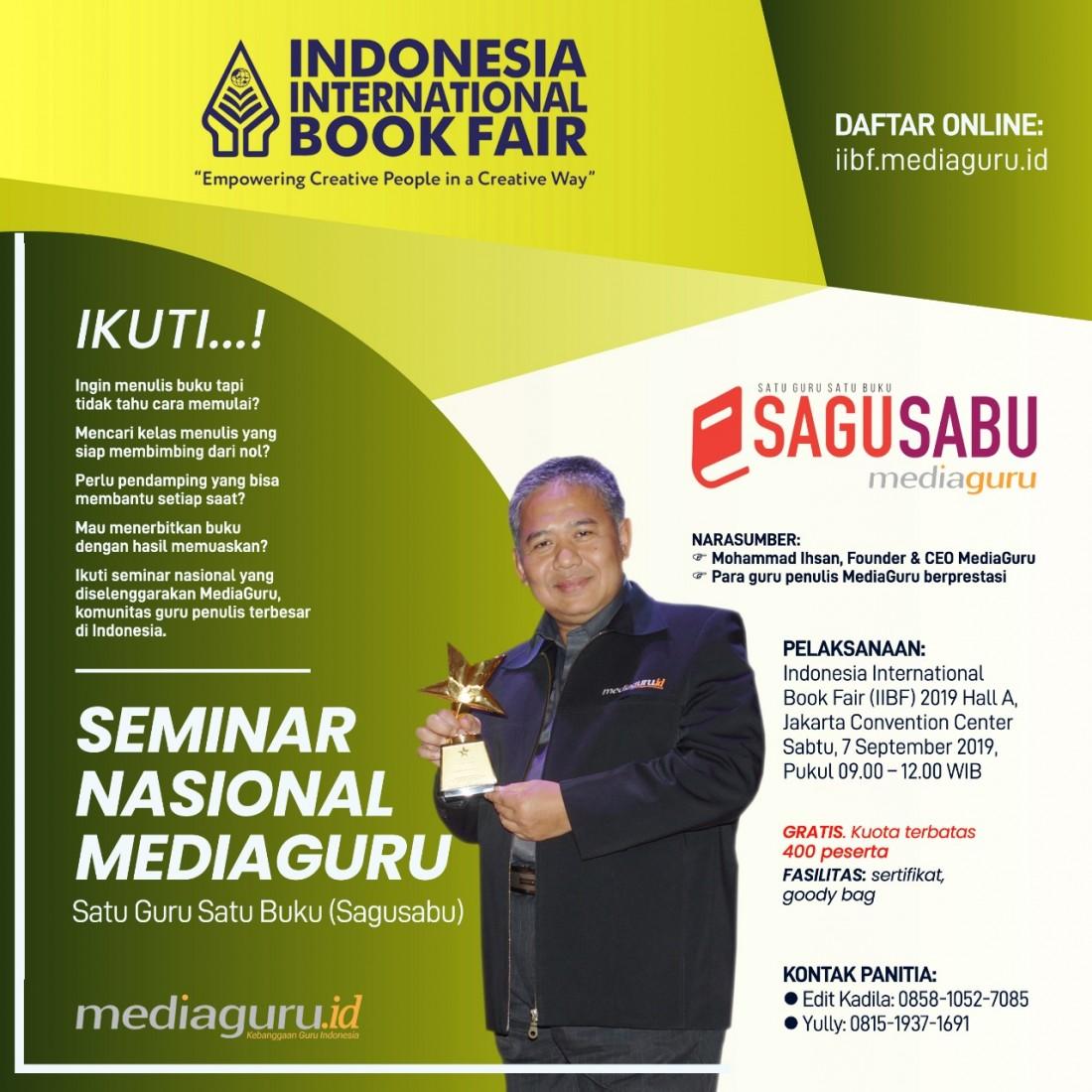 Seminar Nasional Satu Guru Satu Buku (Sagusabu), Jakarta (7 September 2019)