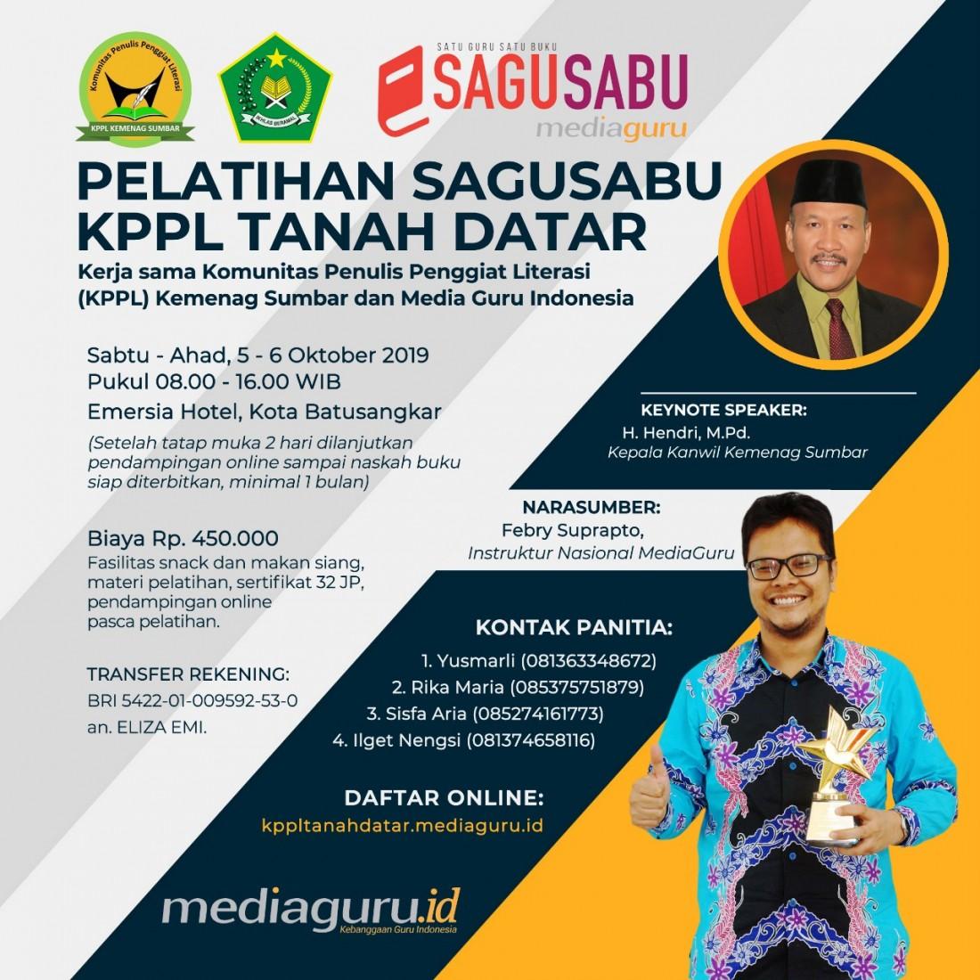 Pelatihan Menulis Sagusabu KPPL Tanah Datar (5-6 Oktober 2019)