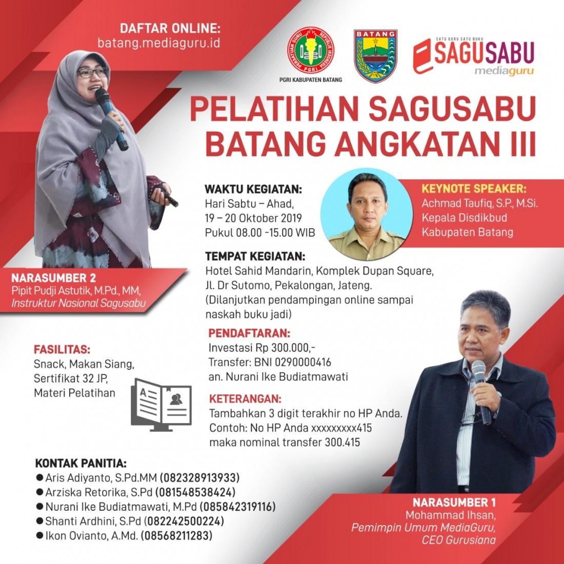 Pelatihan Menulis Sagusabu Batang II Jateng (Batang, 19 - 20 Oktober 2019)