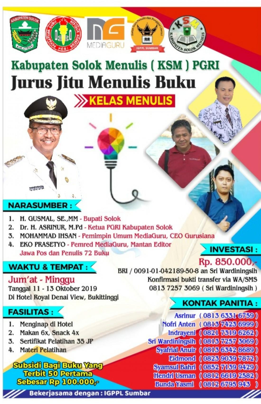 Kabupaten Solok Menulis (KSM) PGRI (11-13 Oktober 2019)