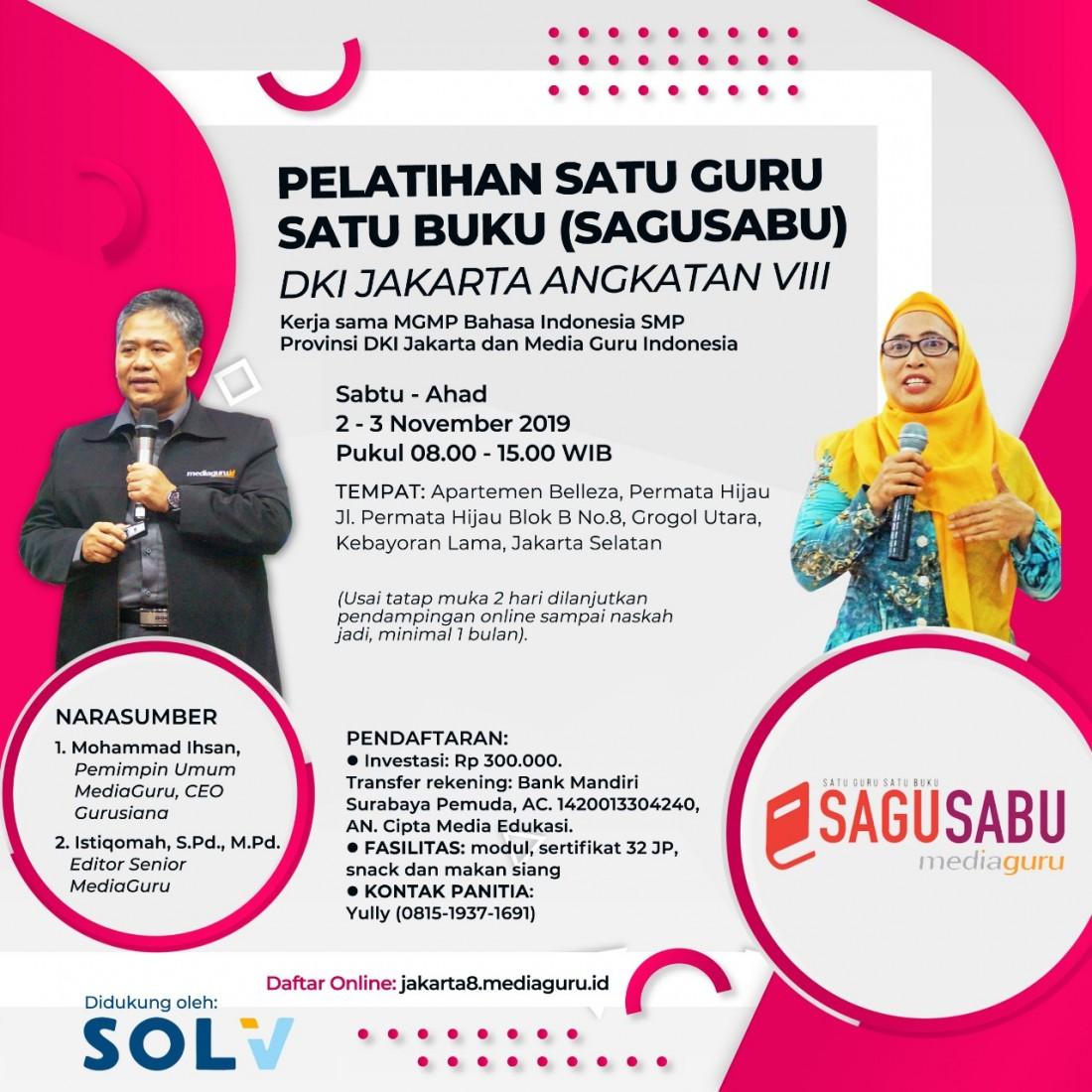 Pelatihan Menulis Sagusabu DKI Jakarta VIII (2 - 3 November 2019)