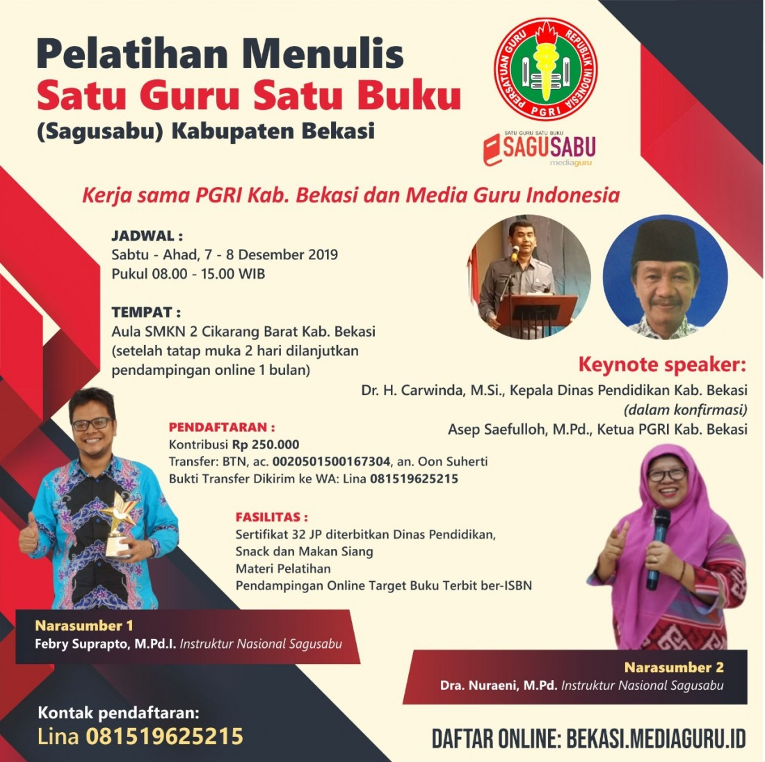 Pelatihan Menulis Sagusabu PGRI Kab. Bekasi (7-8 Desember 2019)
