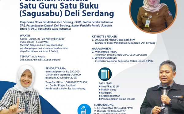 Pelatihan Menulis Sagusabu Deli Serdang (21 - 22 November 2019)