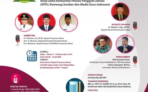 Pelatihan Menulis Sagusabu KPPL Pasaman Barat (9 - 10 November 2019)