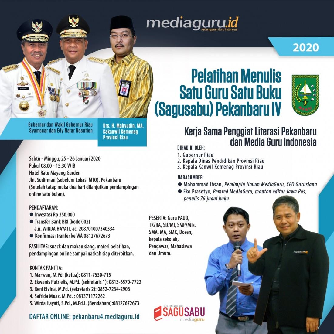 Pelatihan Menulis Sagusabu Pekanbaru IV Riau (25 - 26 Januari 2020)