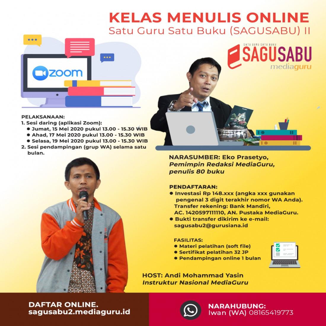 Kelas Menulis Online Satu Guru Satu Buku Angkatan II (15 - 19 Mei 2020)