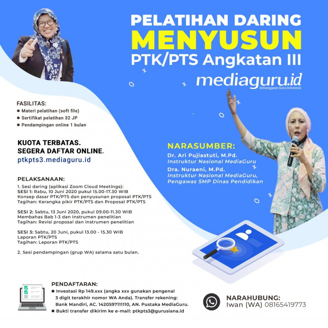 Pelatihan Daring Menyusun PTK/PTS III (10 - 20 Juni 2020)