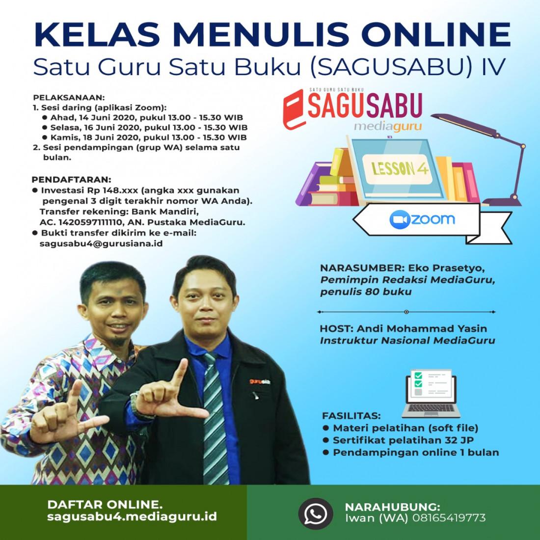 Kelas Menulis Online Satu Guru Satu Buku (Sagusabu) IV (14 - 18 Juni 2020)