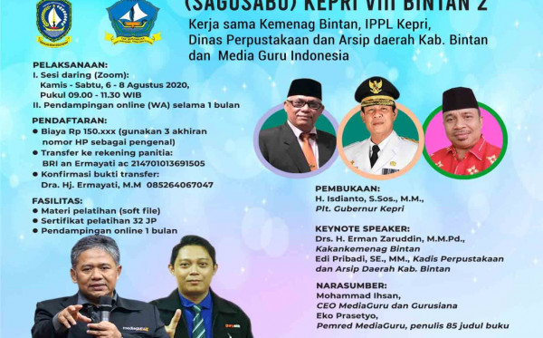 Pelatihan Menulis Online Satu Guru Satu Buku (Sagusabu) Kepri VIII Bintan 2 (6 - 8 Agustus 2020)