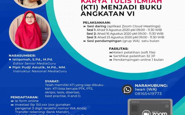 Pelatihan Daring Mengubah KTI Menjadi Buku VI (9 - 23 Agustus 2020)