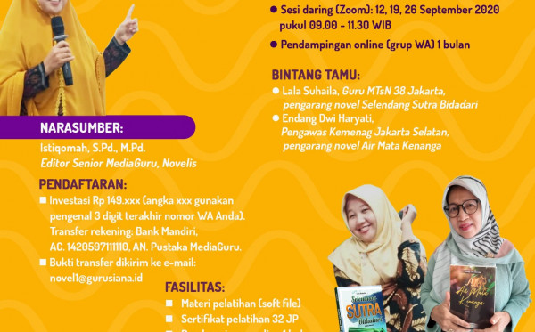 KELAS MENULIS NOVEL MEDIAGURU I (12 - 26 SEPTEMBER 2020)
