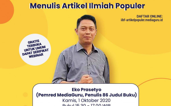WEBINAR MENULIS ARTIKEL ILMIAH POPULER DI IIBF 2020 (1 OKTOBER 2020)