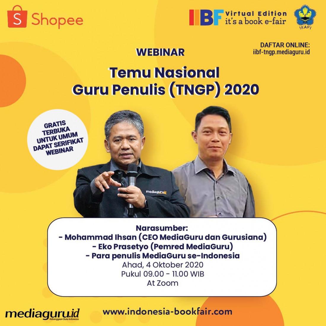 WEBINAR TEMU NASIONAL GURU PENULIS (TNGP) IIBF 2020 (4 OKTOBER 2020)