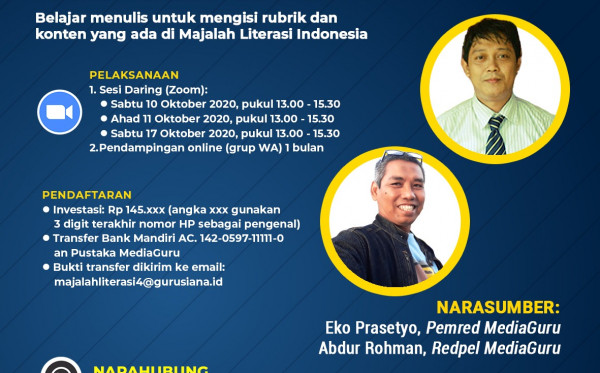 KELAS MENULIS MAJALAH LITERASI INDONESIA IV (10 - 17 OKTOBER 2020)