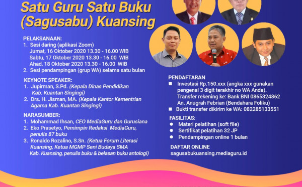 KELAS MENULIS SATU GURU SATU BUKU (SAGUSABU) KUANSING (16 - 18 OKTOBER 2020)