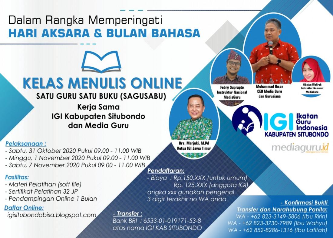 KELAS MENULIS ONLINE SAGUSABU IGI SITUBONDO (31 OKTOBER 2020)