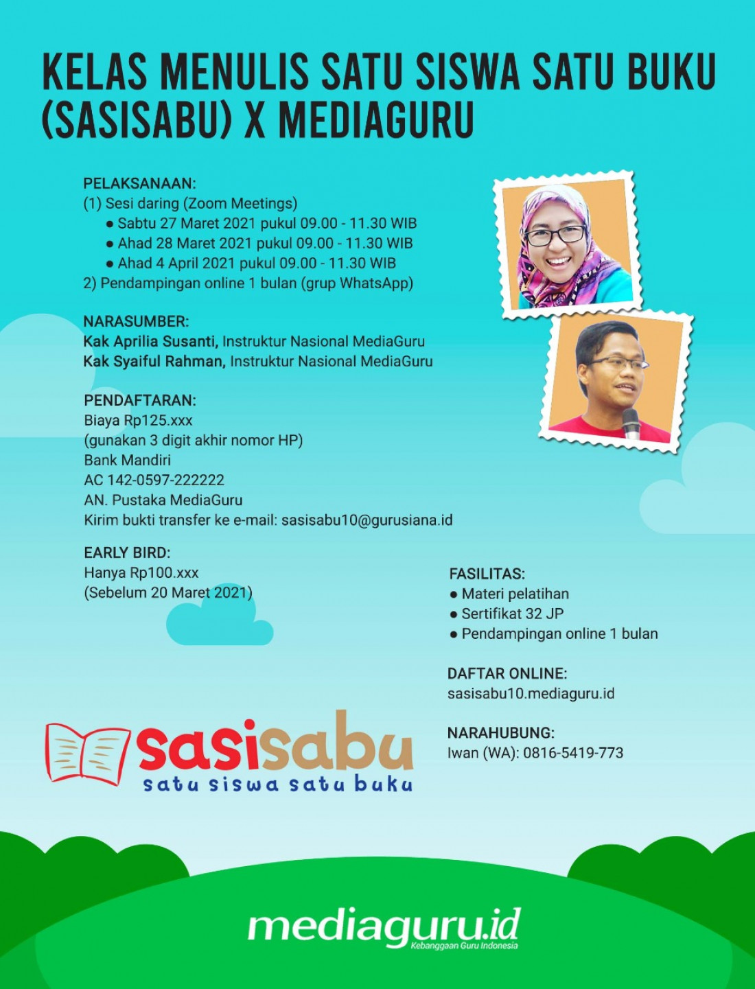 SATU SISWA SATU BUKU (SASISABU) X MEDIAGURU (27 MARET - 4 APRIL 2021)